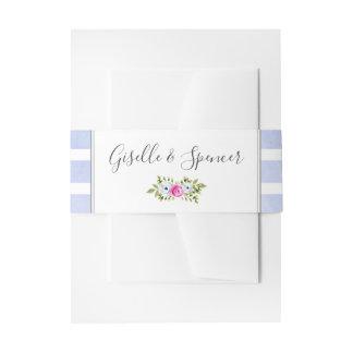 Modern Floral Watercolor Stripe Wedding Invitation Invitation Belly Band