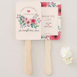 Modern Floral Watercolor Wedding Thank You. Hand Fan