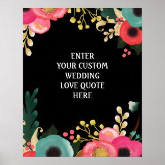 Modern Floral Wedding Custom Love Quote Prints