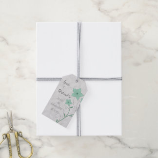 Modern Floral Wedding Mint PFBX Pack Of Gift Tags