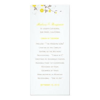 Modern Floral Wedding Program - Mustard