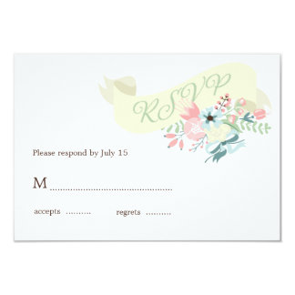 "Modern Floral Wedding RSVP Response 3.5"" X 5"" Invitation Card"