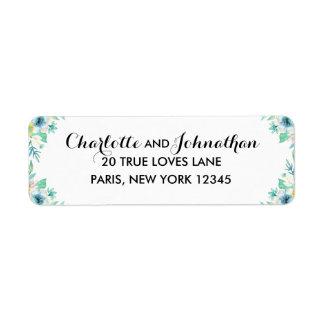 Modern Floral Wedding Vintage Return Address Label