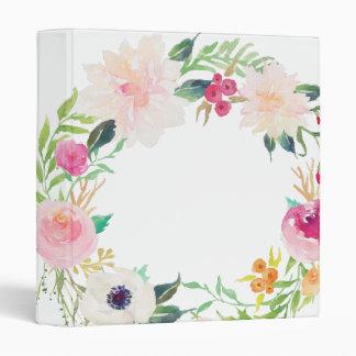 Modern Floral Wreath White Binder