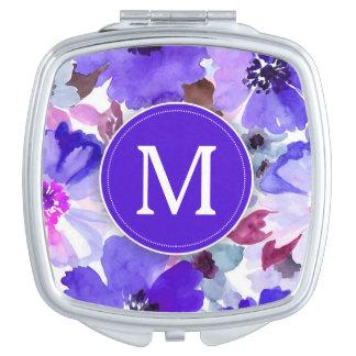 Modern Florals Purple Monogram Mirrors For Makeup