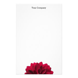 Modern Florist's Red Dahlia Flower Customized Stationery
