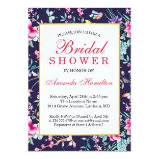 Modern Flower and Butterflies Bridal shower Card