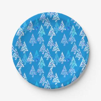 Modern flower Christmas trees - cerulean blue Paper Plate