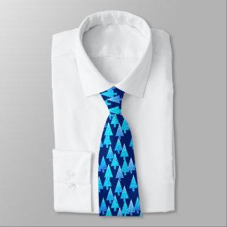 Modern flower Christmas trees - cobalt blue Tie