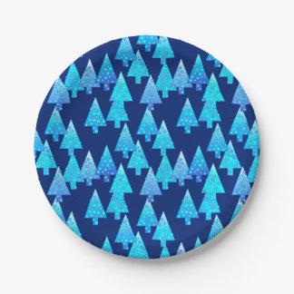 Modern flower Christmas trees - deep blue Paper Plate