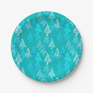Modern flower Christmas trees - turquoise Paper Plate
