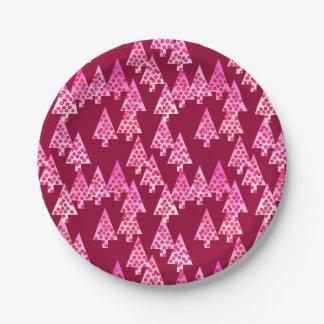 Modern flower Christmas trees - wine & pink Paper Plate