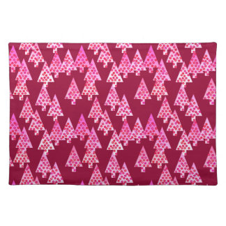 Modern flower Christmas trees - wine & pink Placemat