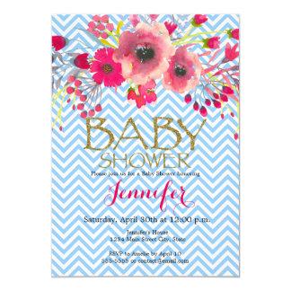 Modern flower glamour neutral girl baby shower card