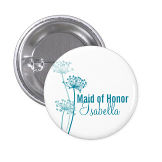 Modern flower Maid of honor wedding pin button