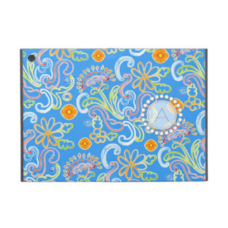 Modern Flower Pattern Floral Leaf Swirl Monogram iPad Mini Cover