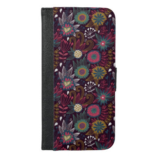 Modern Flower Pattern iPhone 6 Plus Wallet Case