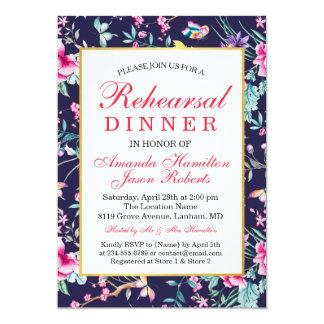 Modern Flowers and Butterflies Rehearsal dinner Card