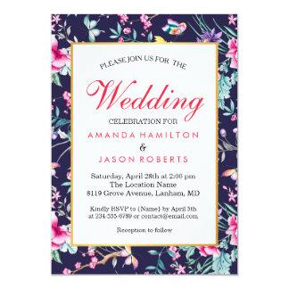 Modern Flowers and Butterflies Wedding Invite