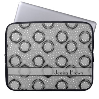 Modern Flowers Grey Polka Dots Laptop Sleeve
