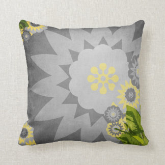 Modern Flowers in Grey and Yellow Throw Pillow