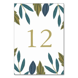 Modern Foliage Floral Wedding Table Number
