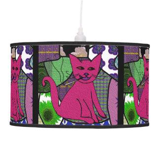 Modern Folk Art Smoking Cat Hanging Pendant Lamp