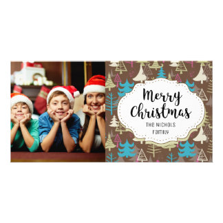 Modern Forest Christmas Picture Photo Card