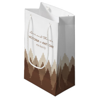 Modern Forest Range Woodland Wedding Favour Small Gift Bag