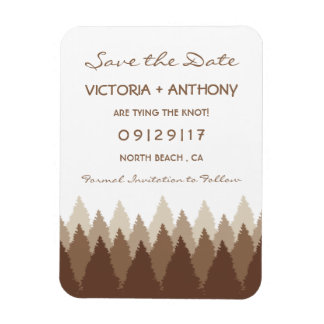 Modern Forest Range Woodland Wedding Save The Date Rectangular Photo Magnet