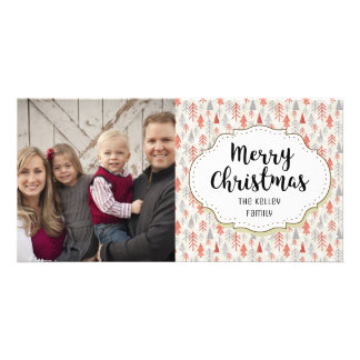 Modern Forest Trees Christmas Photo Card