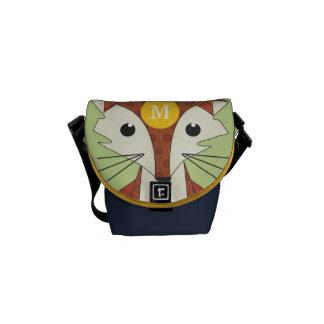Modern Fox Copper Navy Retro Geometric Pattern Messenger Bag