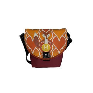 Modern Fox Monogram Pink Orange Geometric Pattern Commuter Bag