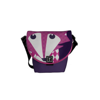 Modern Fox Pink Eggplant Retro Geometric Pattern Courier Bag