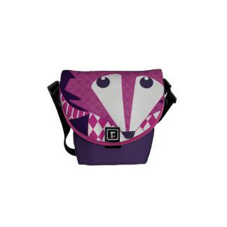 Modern Fox Pink Eggplant Retro Geometric Pattern Messenger Bags
