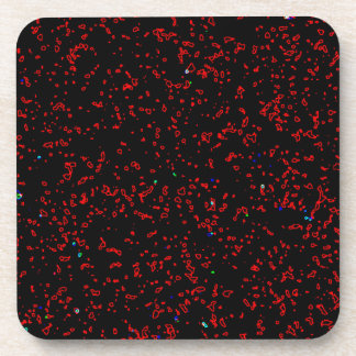 Modern Fractal Art Black Red Patterns Stylish Cool Beverage Coasters