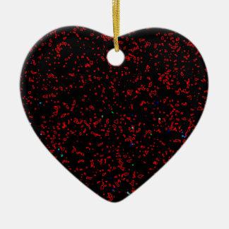 Modern Fractal Art Black Red Patterns Stylish Cool Ceramic Heart Ornament