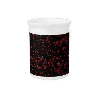 Modern Fractal Art Black Red Patterns Stylish Cool Pitcher