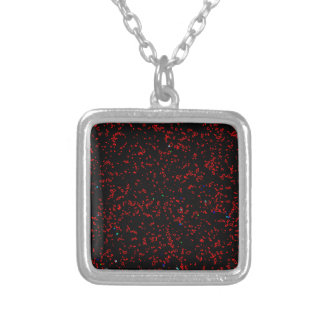 Modern Fractal Art Black Red Patterns Stylish Cool Silver Plated Necklace