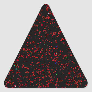 Modern Fractal Art Black Red Patterns Stylish Cool Triangle Sticker