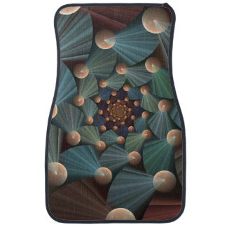 Modern Fractal Art With Depth, Brown, Slate, Blue Car Mat