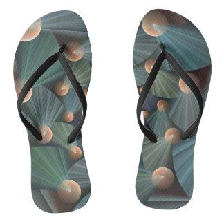 Modern Fractal Art With Depth, Brown, Slate, Blue Flip Flops