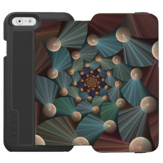 Modern Fractal Art With Depth, Brown, Slate, Blue Incipio Watson™ iPhone 6 Wallet Case