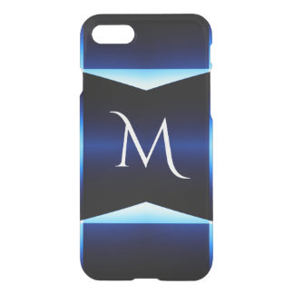 Modern Fractured Blue & Teal Squares With Monogram iPhone 8/7 Case
