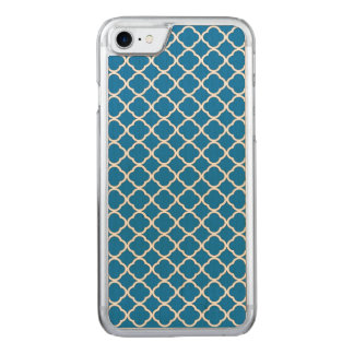Modern French Blue Quatrefoil Maroccan Pattern Carved iPhone 7 Case