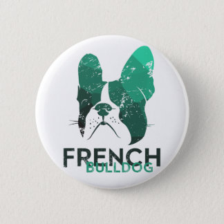 Modern French Bulldog in green/mint color 2 Inch Round Button