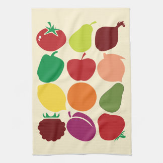 Modern fruit and vegetable silhouettes kitchen towel