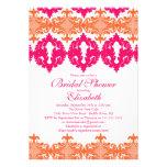 Modern Fuchsia & Orange Damask Bridal Shower Custom Announcement