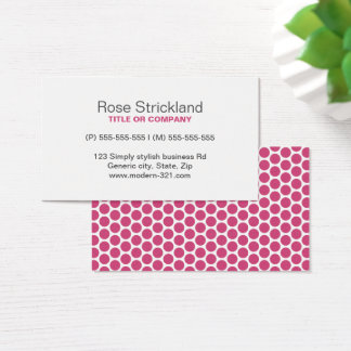 Modern fuchsia rose polka dot pattern personal business card