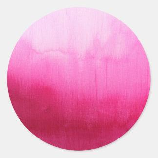 Modern fuchsia watercolor paint brushtrokes round sticker